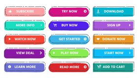 Call to action button. Read more, subscribe and buy now web buttons with vivid colors and grunge textures flat isolated vector illustration