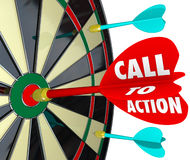 Call to Action Dart Board Marketing Advertising Direct Response. Call to Action words on a dart hitting a target on a board to illustrate a marketing or stock illustration