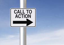 Call to Action. Modified one way road sign indicating Call to Action Royalty Free Stock Photo