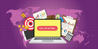 Call to action traffic data goals graph money technology. Vector Royalty Free Stock Images