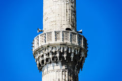 Call to prayer minaret with public announce system, Blue Mosque. Call to prayer balcony with public announce system on one of six minarets of Sultan Ahmed Mosque Royalty Free Stock Photo