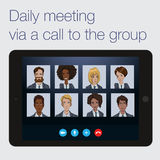 Daily call to a remote project team Stock Images