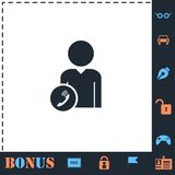 Call to User icon flat royalty free illustration