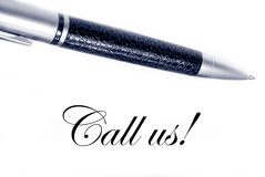 Call  us. Pen and the words call us Stock Photo