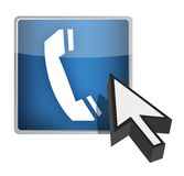 Call us blue button and cursor illustration Stock Photography