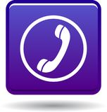 Call us button web icon violet. Call us web icon violet on white background - vector illustration isolated royalty free illustration