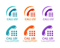 Call us! buttons. Or icons for phone customer support Stock Images