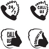 Call us and contact us hand gestures buttons Royalty Free Stock Image