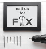 Call us for Fix Mechanic Service poster for business. Royalty Free Stock Photography