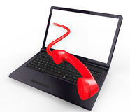 Call Us Online Indicates World Wide Web And Assistance Stock Photography