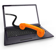 Call Us Online Means World Wide Web And Chat Stock Photo