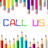 Call Us Shows Telephone Networking And Talk Stock Photography