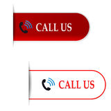 Call us signs or labels Stock Image