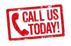 Call us today. Red Stamp on a white background - Call us today vector illustration