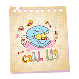 Call us unique lettering with telephone cartoon character Stock Photos