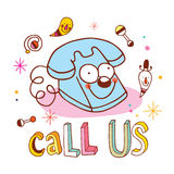 Call us unique lettering with telephone character Royalty Free Stock Photos