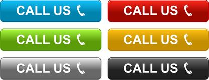 Call us web buttons colorful on white royalty free stock photography