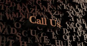 Call Us - Wooden 3D rendered letters/message Stock Photography