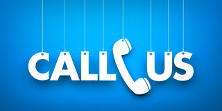 CALL US - word hanging on blue background Royalty Free Stock Photos