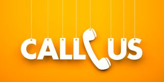 CALL US - word hanging on orange background Royalty Free Stock Photography