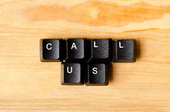 Call Us words. With keyboard buttons Stock Image