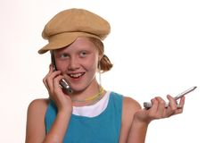 Call Waiting 2. Teen talking on cell phones Stock Images