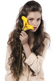 calla свежий девушки желтый цвет довольно стоковое фото