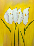 Calla bouquet. Original oil painting of flowers on yellow background. I'm the author of this painting Royalty Free Stock Photo
