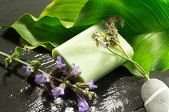 Calla leaf, soaps and lavender and sage Stock Photography