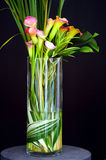 Calla Lilies in Vase. Beautiful calla lilies arranged in a long vase Royalty Free Stock Photos