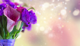Calla lilly and eustoma flowers. Bouquet close up banner Royalty Free Stock Image