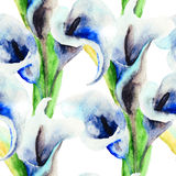 Calla Lily flowers. Watercolor illustration, seamless pattern Stock Photography