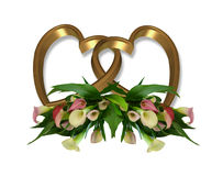 Calla Lily Gold Hearts graphic. Image composition of pink calla lilies and gold hearts for wedding birthday party invitation clip art graphic Royalty Free Stock Image