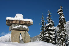 Callaghan. An Inukshuk (symbol of the 2010 winter olympic games and a traditional native sculpture) stands in the Callaghan Valley, site of the Nordic events Royalty Free Stock Images