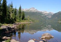 Callaghan Lake Provincial Park. Callaghan Lake with Peak 7495. Callaghan Lake Provincial Park, British Columbia Stock Photo