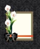 Damastast blom- kort för bröllop Arkivbild