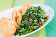 Callaloo Vegetable and Dumplings - Caribbean St Stock Image
