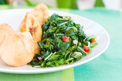 Callaloo Vegetable (Spinach) a Stock Photo