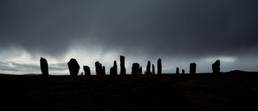 Callanish Standing Stones. Dark, atmospheric shot of the prehistoric standing stones at Callanish on the Isle of Lewis in the outer Hebrides, Scotland Royalty Free Stock Images