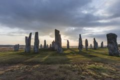 Callanish-Stein-Kreis auf der Insel von Lewis in den Äußeren Hebriden von Schottland stockfotos