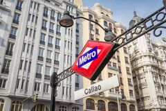 Callao metro sign over city background in Madrid Stock Image