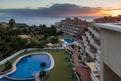 CALLAO SALVAJE, TENERIFE/SPAIN - 19-ОЕ ЯНВАРЯ 2015: Заход солнца на Ca Стоковое Изображение RF