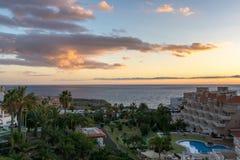CALLAO SALVAJE, TENERIFE/SPAIN - 18. JANUAR 2015: Sonnenuntergang an Ca lizenzfreie stockfotos