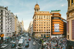 Callao Square and Gran Via Street, Madrid Stock Photography