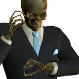 Callboy. 3d rendering skeleton in the Business fashion in telephone to pose as illustration Royalty Free Stock Photos