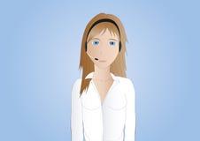callcenter агента коричневое с волосами Иллюстрация вектора