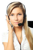 Callcenter. Business background: handsome businesswoman in a work process Royalty Free Stock Photo