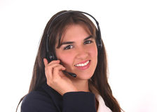 Callcenter Operator III. Latin operator with headset answering the phone Royalty Free Stock Image