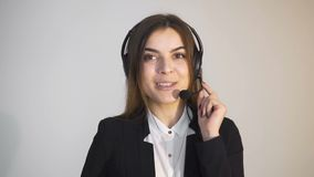 Callcenter operator at work stock video