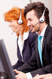 Callcenter service communication in office Stock Photos